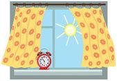 Matinée ensoleillée, fenêtre — Vecteur