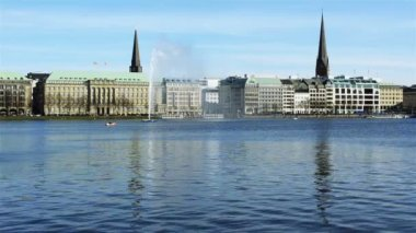 Alster fountain in spring — Stock Video