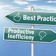 "Stock Photo: Signpost ""Best Practice vs. Productive Inefficiency"""