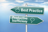 "Signpost ""Best Practice vs. Productive Inefficiency"" — Stock Photo"