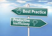 "Signpost ""Best Practice vs. Productive Inefficiency"" — Stock Photo"