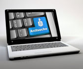 """Mobile Thin Client, Netbook """"Arztsuche"""" — Stock Photo"""
