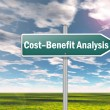 图库照片: Signpost Cost-Benefit Analysis