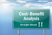 Highway Signpost Cost-Benefit Analysis — Stock Photo