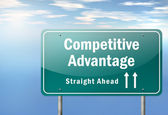 Highway Signpost Competitive Advantage — Stock Photo