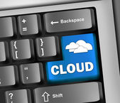 Keyboard Illustration Cloud Computing — Stock Photo