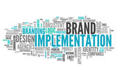 Word Cloud Brand Implementation — Stock Photo