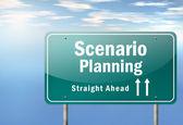 Highway Signpost Scenario Planning — Stock Photo