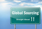 Highway Signpost Global Sourcing — Stock Photo