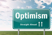 Highway Signpost Optimism — Stockfoto