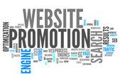 Promoción del sitio web palabra nube — Foto de Stock