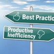 Stock Photo: Signpost Best Practice vs. Productive Inefficiency