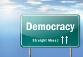 Highway Signpost Democracy — Stock Photo