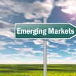 Stock Photo: Signpost Emerging Markets