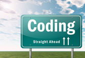 Highway Signpost Coding — Stock Photo