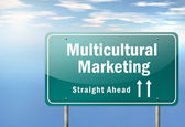 Highway Signpost Multicultural Marketing — Stock Photo