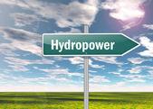Signpost Hydropower — Stock Photo