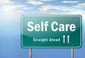 Highway Signpost Self Care — Stock Photo