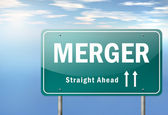 Highway Signpost Merger — Stock Photo