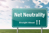 Highway Signpost Net Neutrality — Stock Photo