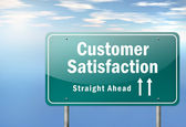 Highway Signpost Customer Satisfaction — Stock Photo