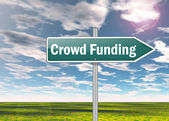Signpost Crowd Funding — Stock Photo