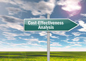 Signpost Cost-Effectiveness Analysis — Stock Photo