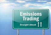Highway Signpost Emissions Trading — Stock Photo