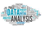 Słowo cloud analiza danych — Zdjęcie stockowe
