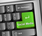 Keyboard Illustration Social Media — Stock Photo