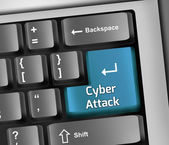 Keyboard Illustration Cyber Attack — Stock Photo