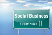 Highway Signpost Social Business — Stock Photo