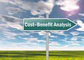 Signpost Cost-Benefit Analysis — Stockfoto
