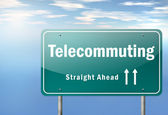 Highway Signpost Telecommuting — Stock Photo