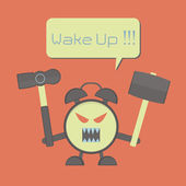 Angry alarm clock — Stock Vector