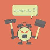 Angry alarm clock — Stock Vector