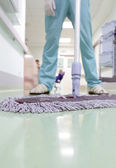 Buffing the floor. cleaner is ready to work. — Stock Photo