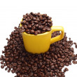 Mug full of coffee beans. Isolated with clipping patch. — Stock Photo