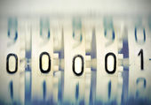 Numbers 00001 from Mechanical Scoreboard. Stylized photo. — Stock Photo