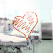 Heart shape in the background of a hospital ward — Stock Photo