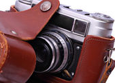 Reporter's camera in a leather case. Retro style. Isolated. — Stock Photo