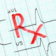 Stock Photo: RX (prescription) inscription on cardiogram.
