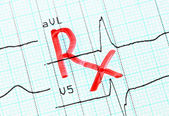 RX (prescription) inscription on cardiogram. — Stockfoto
