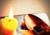 Candle, a spoon with narcotic. Stylized photo. — Stock Photo