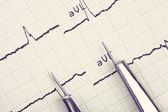 Instrument and cardiogram. medical background — Stock Photo