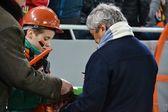 Shakhtar coach Mircea Lucescu autographs — Stock Photo