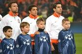 The match of the Champions League. Rat, Taison, Mkhitaryan before match — Stock Photo