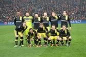 Equipa de dortmund borussia fc antes do jogo da liga dos campeões — Fotografia Stock