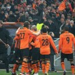 Shakhtar footballers celebrate after scoring the ball - Photo