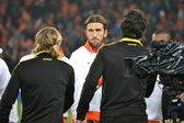 Shakhtar players handshake with players Borussia Dortmund — Stock Photo